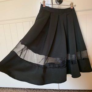 Express Full A Line Black Skirt See-Through Stripe